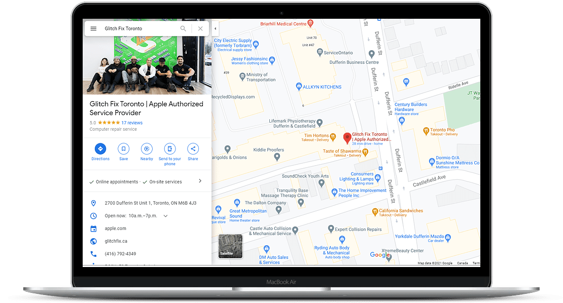 google maps screen shot for business